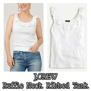 NWT J.CREW Ruffle Neck Ribbed Tank